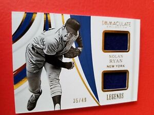 NOLAN RYAN 2 GAME USED JERSEY CARD #d35/49 2019 PANINI IMMACULATE LEGENDS METS