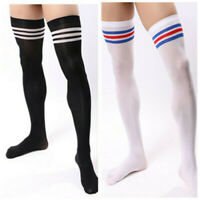 Men Soccer Thigh Stocks High Stockings Velvet Sport Striped Long Socks NEW HOT