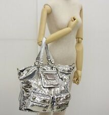 HUUUUUGE *RARE* COACH POPPY SILVER  SEQUIN  XXXL SPOTLIGHT PURSE #13838 Logo