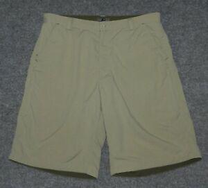 "REI CO-OP ADVENTURES TRAVEL SHORT 11"" Ins 718037 Zip Pockets Khaki sz 38 Shorts"
