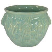 McCoy Pottery 1930s Green Basket Weave With Leaves And Berries Jardiniere 38