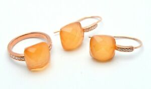 18 KT YELLOW GOLD ON 925 SILVER RING & EARRINGS SET WITH YELLOW STONES