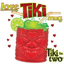 MUG Ceramic LOVE TIKI Red Polynesian Totem Mid Century Tiki Bar Cocktail Kitsch