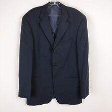 Hugo Boss Men Wool 42L Dark Navy Blue Blazer 3 Button Long Sleeve Collar