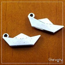 Origami Paper Boat charms ~PACK of 2~ Tibetan silver retro folded ship sail