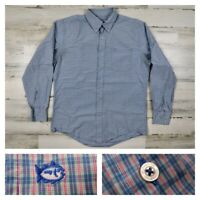 Southern Tide Mens Medium Blue Checks Performance Button Front Oxford Shirt