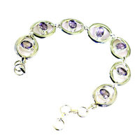 adorable Amethyst 925 Solid Sterling Silver Purple Bracelet genuine jewelry US