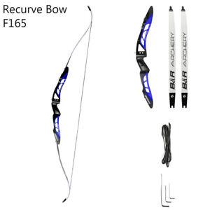 "68"" 20-40Lb Recurve Bow F165 Aluminum Alloy Blue&Black Handle Maple Limb Archery"