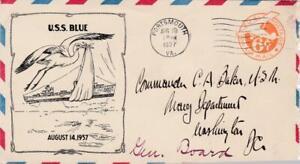 USA NAVAL COVER 1937 USS BLUE  POSTED PORTSMOUTH VA STORK CACHET