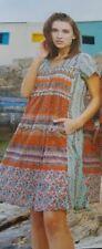 ORIENTIQUE LA RIOJA NEW dress Women 100% COTTON BOHO SHORT SLEEVE POCKETS  71281