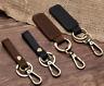 Key Chain Leather Belt Loop Key Holder Ring Keychain Keyring Keyfob Black Brown