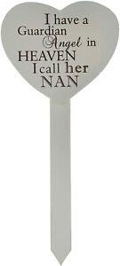 Nan Heart Memorial Grave Stick Marker Plaque Guardian Angel in Heaven Tribute