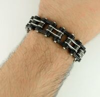 Stainless Steel Mens Motorcycle Bike Chain Bracelet 3/4 Inch Wide Black Silver