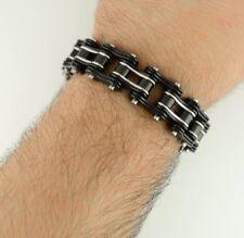 Bracelet 3/4 Inch Wide Black Silver Stainless Steel Mens Motorcycle Bike Chain