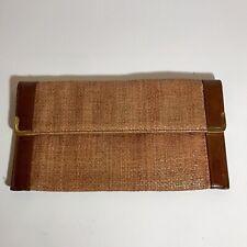 VINTAGE 1950's Rare Koret Brown Woven Wicker Leather Trim Envelope Clutch Bag