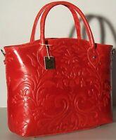 Red NWT Genuine Italian Leather Handbag Tote Embossed 1447 Shoulder bag
