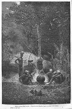 NOUVELLE-CALEDONIE CANAQUES CUISINANT DANS LES BOIS GRAVURE ENGRAVING 1868