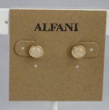 "Macys Alfani Earrings Round Stud Gold-Tone ""Faux Moonstone"" Cabochon 6 mm"