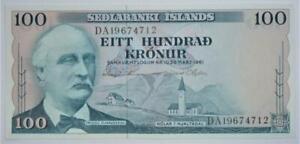 Mint UNC banknote SEDLABANKI ISLANDS (Iceland) 1961 hundred kronur