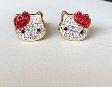 14K Yellow Gold Hello Kitty Baby/Children Screw Back Earrings/Aretes de ninas