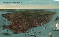 Vintage Postcard 1910's Bird's Eye View of Key West FL Florida Ocean