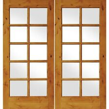 Welcome Home Doors Knotty Alder Exterior 10 Lite French Doors with Low E Glass