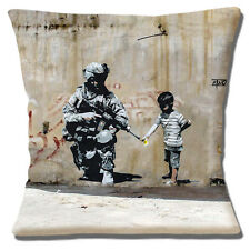 Banksy Graffiti Artist Cushion Cover 16x16 inch 40cm Soldier & Child with Flower