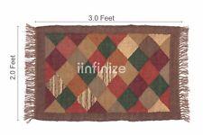 Handwoven 2x3' Wool Jute Kilim Rug Yoga Dhurrie Pray Mat Floor Carpet Rustic Rug