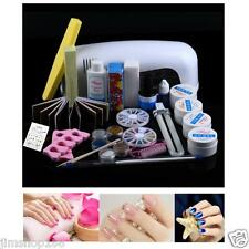 Combo Set Professional DIY UV Gel Nail Art Brush Buffer Tool Nail Tips Glue Kit