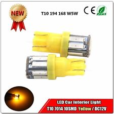 2x T10 LED Side Wedge Light Bulb Yellow Amber LED 7014 10 SMD 194 168 W5W 3000K