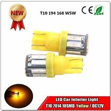 2x T10 LED Side Wedge Light Bulb Yellow Amber LED 7014 10 SMD 194 168 W5W 3000K
