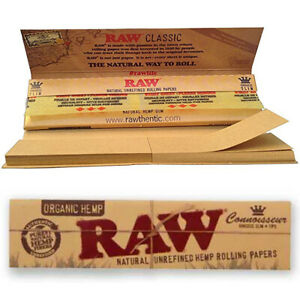 RAW Classic Connoisseur King Size Slim  Rolling Papers w/ Roach Tips