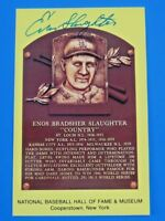 ENOS SLAUGHTER SIGNED HALL OF FAME PLAQUE POSTCARD ~ 100% GUARANTEED AUTOGRAPH