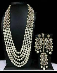 Indian Designer Necklace Earrings Pearl Bridal Wedding Gold Fashion Jewelry Set