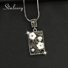 Pendant Long Necklace Black Snake Chain Vintage Women Jewelry Grey Pearl Square