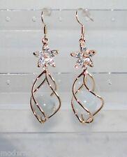 oro 24k Orecchini TOP spirale con Cristallo da Donna Eleganti pendenti