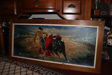 Vintage Spanish Bullfighting Painting-Signed Val-Large Painting-Unusual Texture