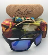 Polarized MAUI JIM Sunglasses KANAIO COAST MJ 766-08C Black & Blue w/Blue Hawaii