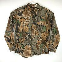 Vtg Walls Camo Button Up Shirt Mens Brown Realtree Long Sleeve Heavy Cotton XL