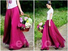 UK Women Beach Party Chiffon Pleated Long Maxi Skirt Dress Purple