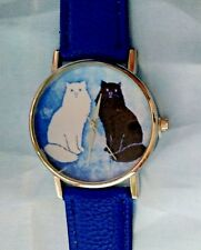 CAT Fashion Wrist Watch Womens Mens Black White Yin Yang Kitten Gift Blue Band