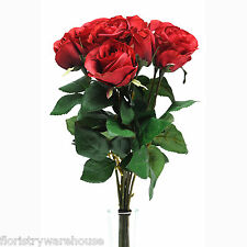 Artificial Silk Rose Bunch Red 9 Individual Stems 42cm/16.5 Inches