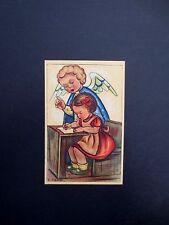 #K929- Vintage Unused Xmas Greeting Post Card Stunning Angel Teaching Girl