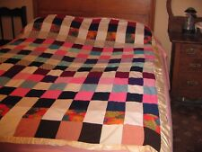 Vintage RETRO PATCHWORK Quilt HIPPIE COOL Polyester Knit 1960's REVERSIBLE RETRO
