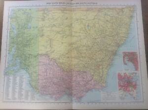 Vintage Antique 1939 Philips Map 20x15 New South Wales Victoria South Australia