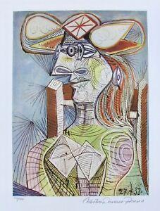 Pablo Picasso SEATED WOMAN ON WOOD CHAIR Estate Signed & Numbered Small Giclee