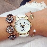 Fashion Cute Cat Dial Women Girls Gift Leather Band Analog Quartz Waist Watch