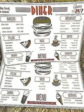 Retro Diner Placemats (4), Menu Best Food in Town Morgan Home Brand New HTF