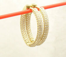 """1""""  Inside Out Pave Diamonique CZ Hoop Earrings 14K Yellow Gold Clad Silver"""