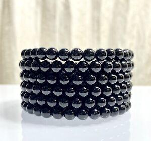 "Wholesale Lot 6 Pcs Black Onyx 6mm 7.5"" Crystal Healing Stretch Bracelet"